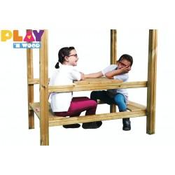 Balançoire Clara tour et portique + table bancs + panneau à grimper